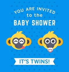 Baby shower invitation card template with two vector image