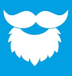 Beard and mustache icon white vector