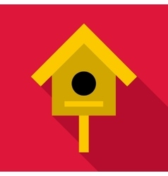 Bird house icon flat style vector