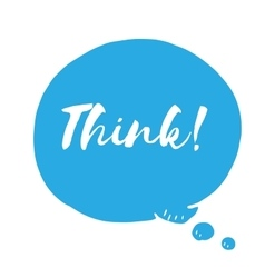 Blue speech bubble with text think doodle vector image vector image