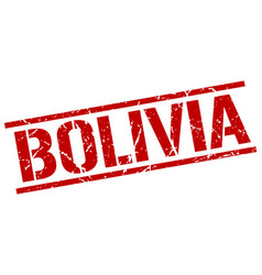 Bolivia red square stamp vector