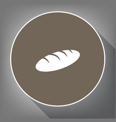bread sign white icon on brown circle vector image vector image