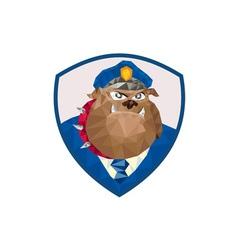 Bulldog Policeman Shield Low Polygon vector image vector image