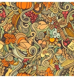 Cartoon cute doodles hand drawn Thanksgiving vector image vector image