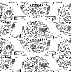 Doodle seamless pattern I love Vegetables vector image vector image