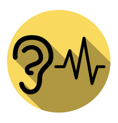 Ear hearing sound sign flat black icon vector