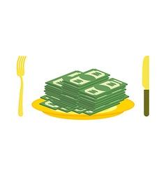 Food oligarch Bundles of money cash eats for vector image vector image