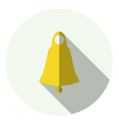 Golden bell with long shadow vector