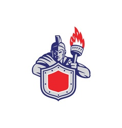 Greek warrior shield torch retro vector