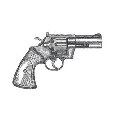 Hand drawn vintage revolver gun firearm pistol vector
