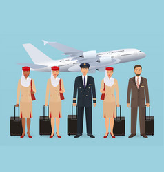 Muslim pilot and stewardesses characters in vector