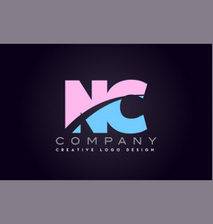 nc alphabet letter join joined letter logo design vector image vector image