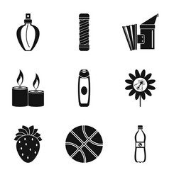 Pollination of flower icons set simple style vector