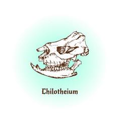 Prehistoric mammal chilotherium skull art vector