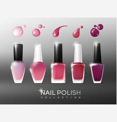 realistic nail polish collection vector image vector image
