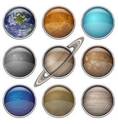 Solar system planets set buttons vector