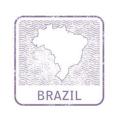 stamp with contour of map of brazil vector image vector image