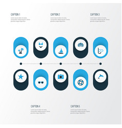 Sun colorful icons set collection of swimming vector