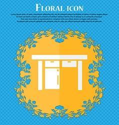 Table icon sign floral flat design on a blue vector