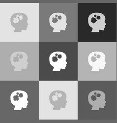 thinking head sign grayscale version of vector image