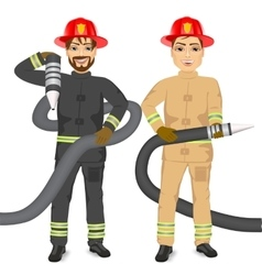 Two happy firemen holding hose vector