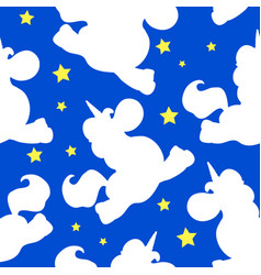 white unicorn pattern on blue vector image
