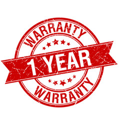 1 year warranty grunge retro red stamp vector