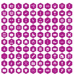 100 mens team icons hexagon violet vector