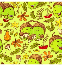 Fall season seamless pattern with smiling acorn vector