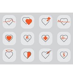 12 heart icon black orange vector