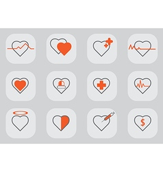 12 heart icon black orange vector
