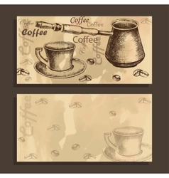 Card menu with sketch of coffe set vector image