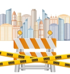 barrier road tape under construction cityscape vector image
