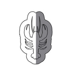 Sticker silhouette with line contour of lobster vector
