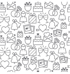 Line style icons seamless pattern wedding vector