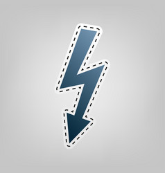 High voltage danger sign  blue icon with vector