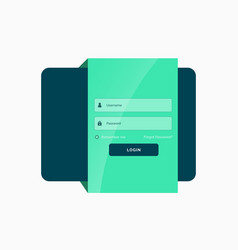 Flat green login user interface template design vector