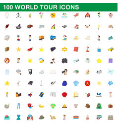 100 world tour icons set cartoon style vector