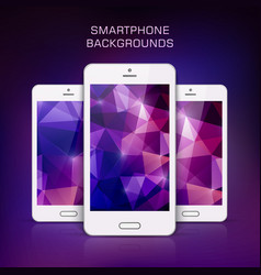 White mobile phone with triangular background vector