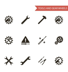Flat design style black tools gear wheels icons vector