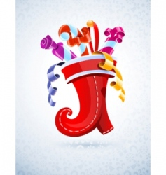 Christmas stocking with gift vector