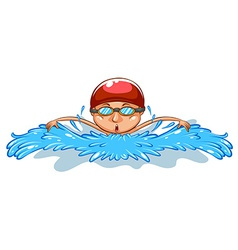 A simple drawing of a man swimming vector