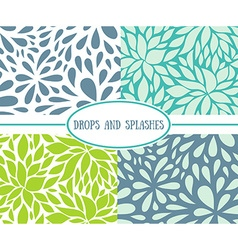Set of seamless stylish patterns with drops vector