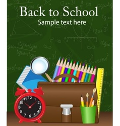 School supplies on the background vector