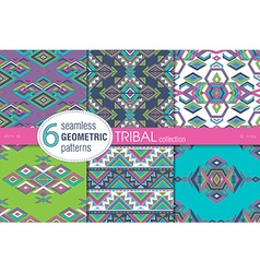 Set of six ethnic seamless patterns geometric vector