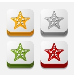 Square button starfish vector