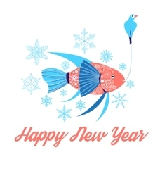Fish and bird floating vector