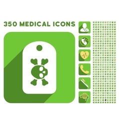 Morgue tag icon and medical longshadow icon set vector