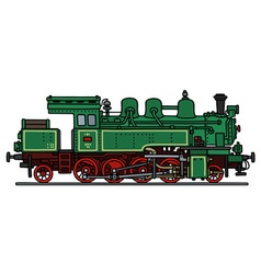 Vintage green steam locomotive vector