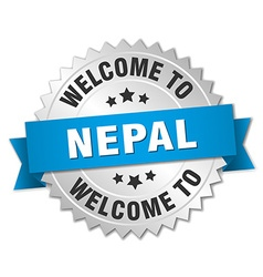 Nepal 3d silver badge with blue ribbon vector